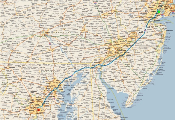 route-newwark-washington-dc